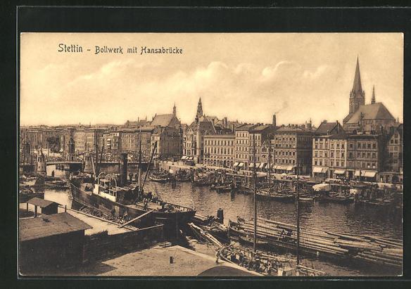 AK Stettin, Bollwerk mit Hansabrücke 0