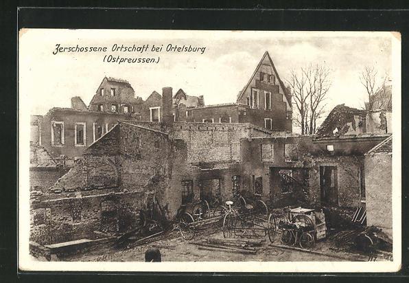 AK Ortelsburg, Zerschossene Ortschaft 0