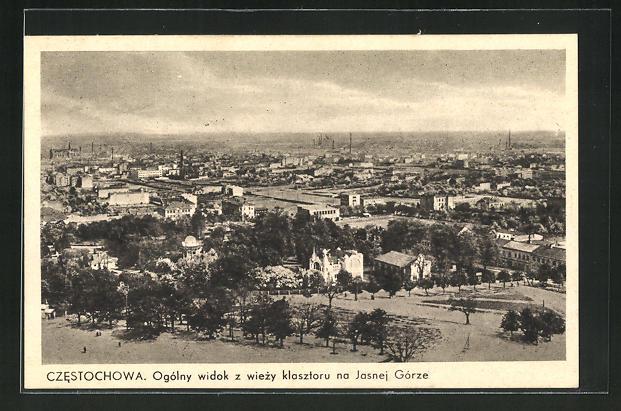 AK Tschenstochau-Czestochowa, Ogolny widok z wiezy klasztoru na Jasnej Gorze 0