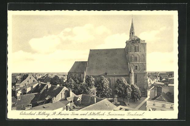 AK Kolberg, St. Marien-Dom und Nettelbeck-Gneisenau-Denkmal 0