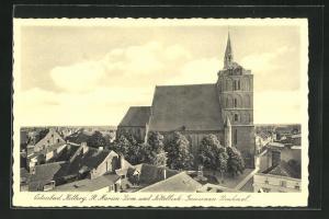 AK Kolberg, St. Marien-Dom und Nettelbeck-Gneisenau-Denkmal