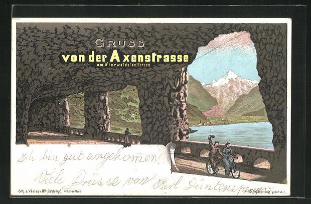 Lithographie Axenstrasse, Tandemfahrer am Vierwaldstättersee 0