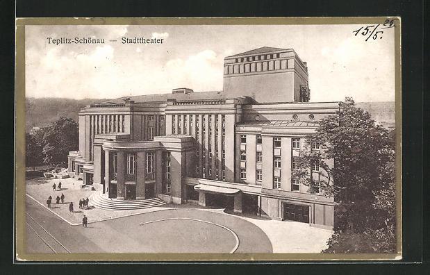 AK Teplitz Schönau / Teplice, Blick zum Stadttheater 0