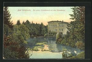 AK Bad Salzbrunn, Der untere Schwedenteich mit dem Schwedenhof