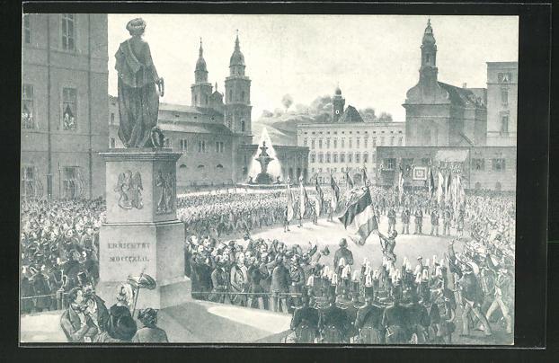 AK Salzburg, Fahnen- & Gesangsfest der Salzburger Liedertafel, Enthüllung der Fahne auf dem Mozartplatz 1849 0