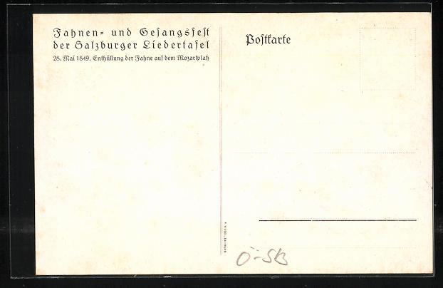 AK Salzburg, Fahnen- & Gesangsfest der Salzburger Liedertafel, Enthüllung der Fahne auf dem Mozartplatz 1849 1