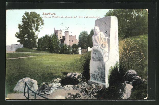 AK Salzburg, Eduard Richter-Denkmal auf dem Mönchsberg 0