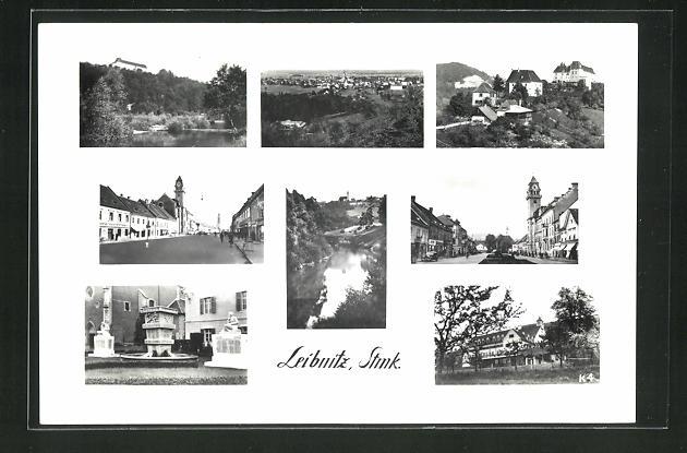 AK Leibnitz /Stmk., Gesamtansicht, Marktplatz, Brunnen, Kirche 0