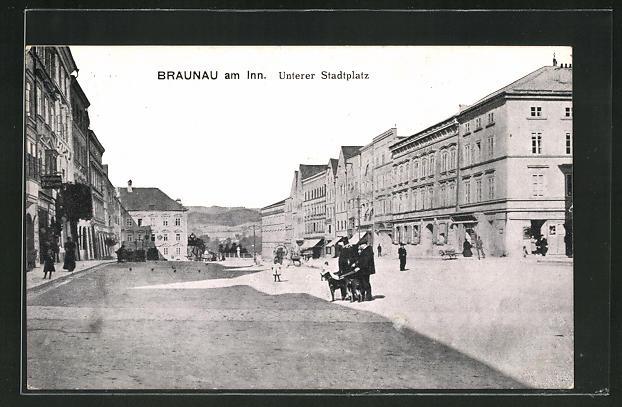 AK Braunau am Inn, Blick auf den Unteren Stadtplatz 0