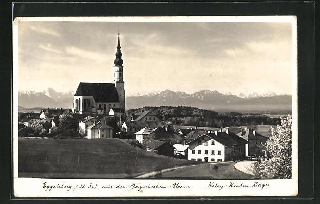 AK Eggelsberg , Ortsansicht mit Bayrischen Alpen 0