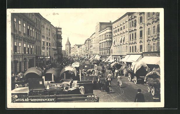 AK Wels, Wochenmarkt auf dem Stadtplatz 0