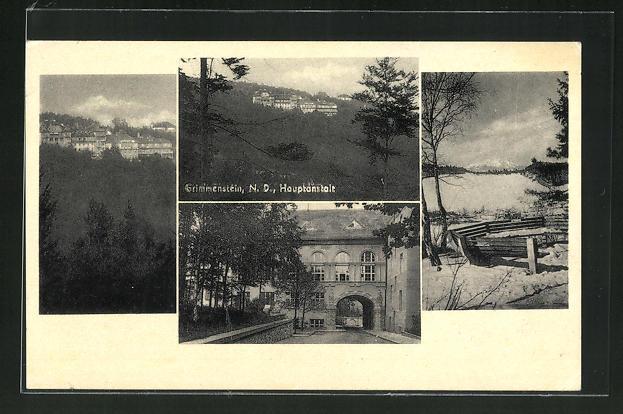 AK Grimmenstein, Blick zur Hauptanstalt, Eingang zur Anstalt 0