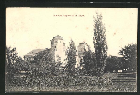 AK Aspern a.d. Zaya, Blick zum Schloss Aspern 0