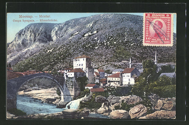 AK Mostar, Häuser an der Römerbrücke 0