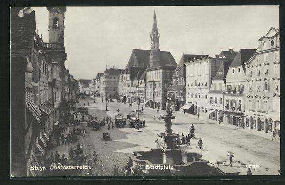 AK Steyr, Geschäfte und Brunnen am Stadtplatz 0