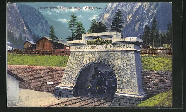 AK Tauerntunnel, Nordportal mit Dampflok 0