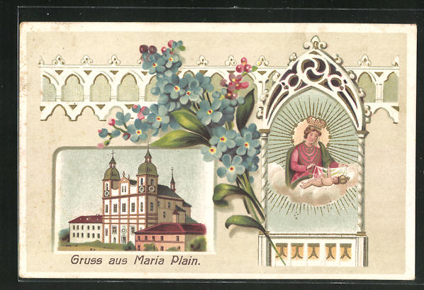 Passepartout-Lithographie Maria Plein, Mutter Gottes 0