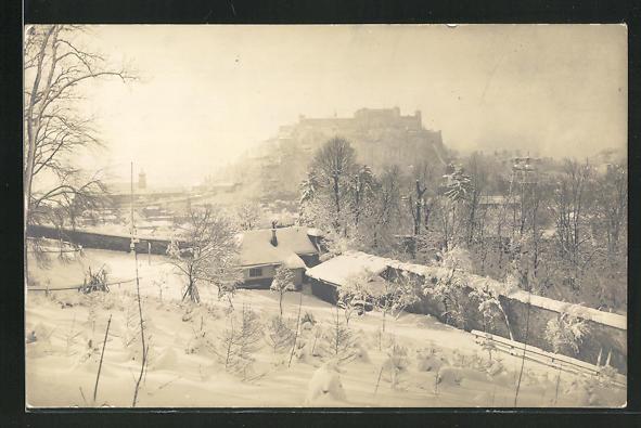 Foto-AK Salzburg, Hohensalzburg im Winter 0