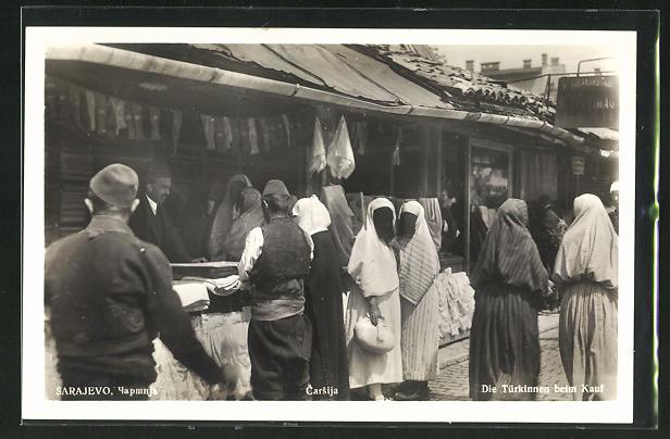 AK Sarajewo, Türkinnen beim Kauf, Markt, Basar 0