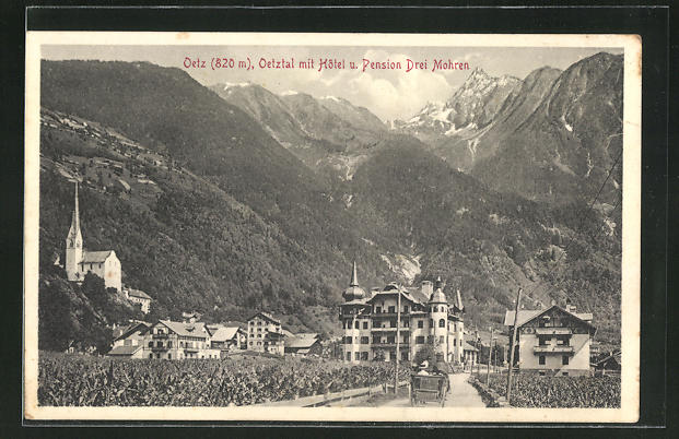 AK Oetz, Oetztal mit Hôtel u. Pension Drei Mohren 0
