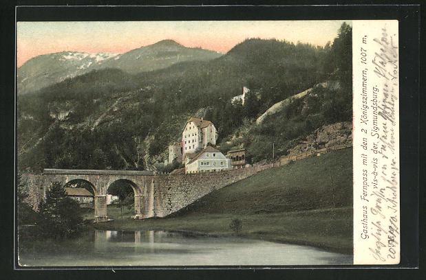 AK Nassereith, Gasthaus Fernpass, vis-vis der Sigmundsburg 0