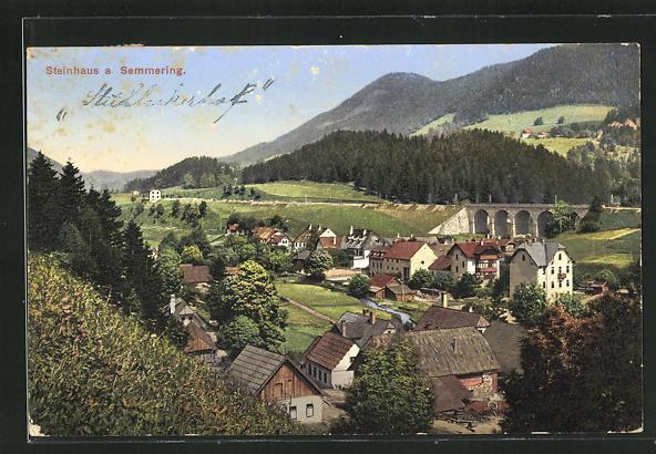 AK Steinhaus a. Semmering, Totale mit Viadukt 0