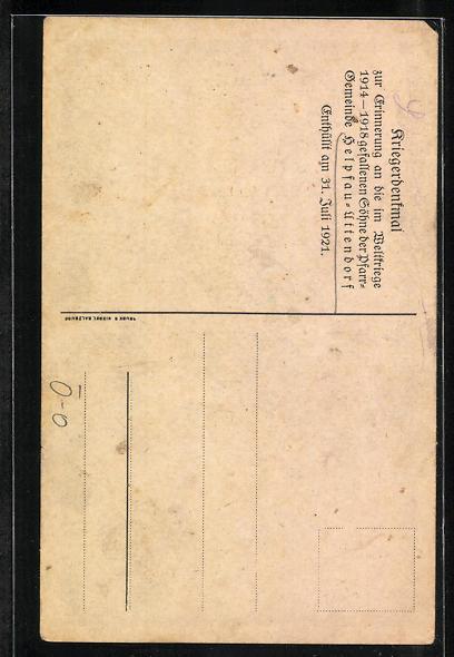 AK Helpfau-Uttendorf, Kriegerdenkmal, Enthüllt 1921 1