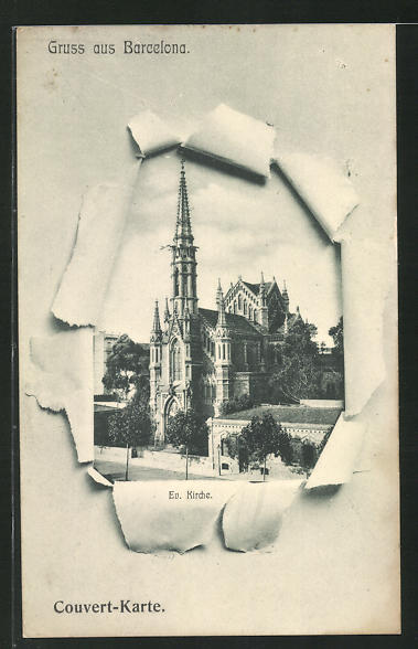 AK Barcelona, Ev. Kirche durch zerrissenes Papier 0
