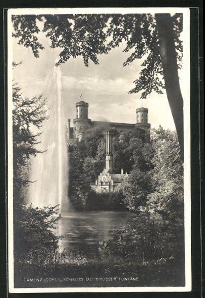 AK Camenz, Schloss mit grosser Fontäne 0