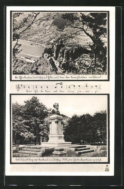 AK Aussig / Usti, Teilansicht und Denkmal 0