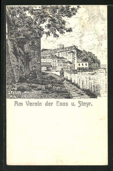 Künstler-AK Steyr, Partie am Kai am Verein der Enns und Steyr 0
