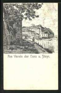 Künstler-AK Steyr, Partie am Kai am Verein der Enns und Steyr