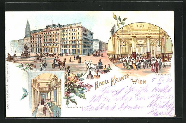 Lithographie Wien, Hotel Krantz, 3 Ansichten 0
