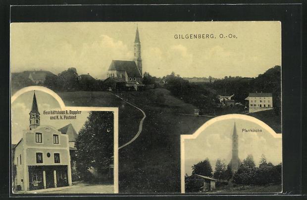 AK Gilgenberg, Geschäftshaus A. Doppler & K.k. Postamt, Pfarrkirche 0