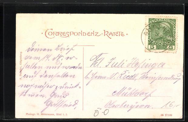 AK Gilgenberg, Geschäftshaus A. Doppler & K.k. Postamt, Pfarrkirche 1