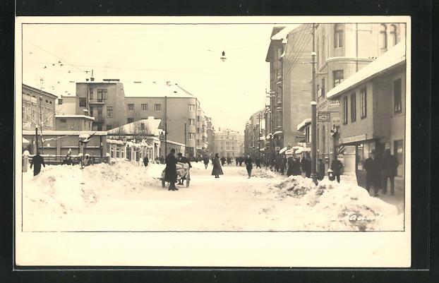 Foto-AK Sarajewo, Alexandrova Ulica im Winter 0