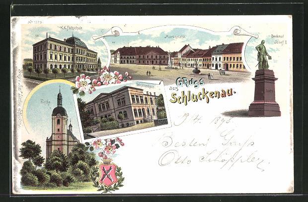 Lithographie Schluckenau / Sluknov, K.k. Fachschule, Schützenhaus, Marktplatz 0