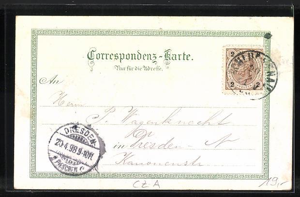 Lithographie Schluckenau / Sluknov, K.k. Fachschule, Schützenhaus, Marktplatz 1