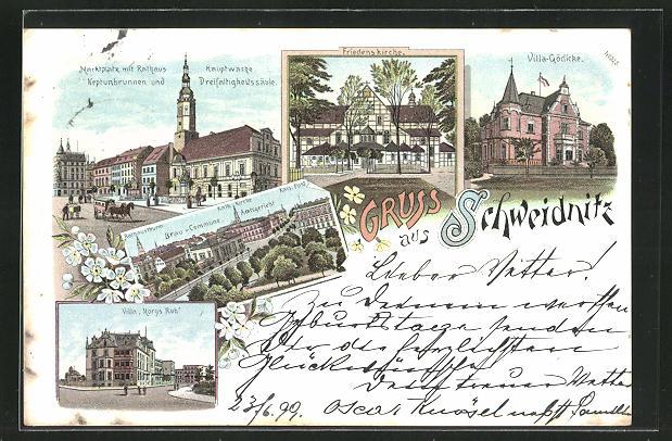 Lithographie Schweidnitz, Villa Gödicke, Villa Morys Ruh, Hauptwache, Brau-Commune 0