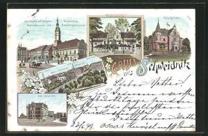 Lithographie Schweidnitz, Villa Gödicke, Villa Morys Ruh, Hauptwache, Brau-Commune