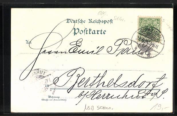 Lithographie Schweidnitz, Villa Gödicke, Villa Morys Ruh, Hauptwache, Brau-Commune 1