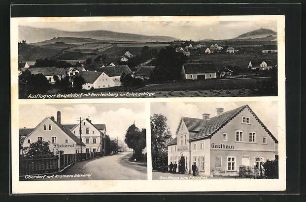 AK Weigelsdorf /Eulengebirge, Kramers Bäckerei, Gasthaus Zum Paradies 0
