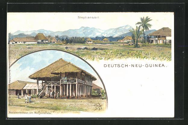 Künstler-AK Themistokles von Eckenbrecher: Stephansort /Deutsch-Neu-Guinea, 2 Ansichten 0