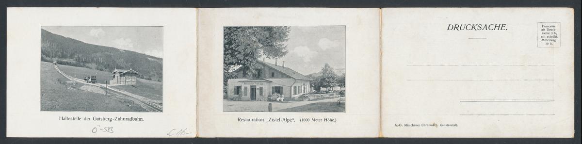 Panorama-AK Salzburg, Zistelalm, rückseitig Ansicht Restaurant & Haltestelle der Gaisberg-Zahnradbahn 1