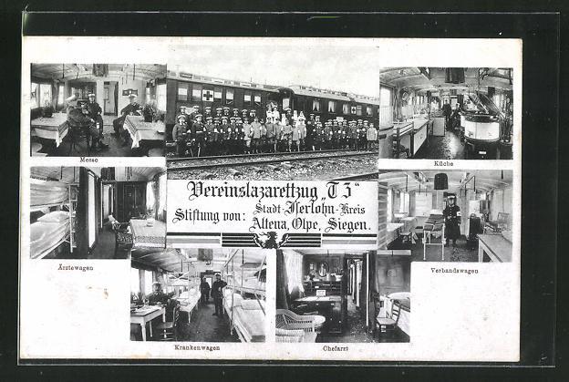 AK Iserlohn, Vereinslazarettzug T3, Innen- und Aussenansichten 0