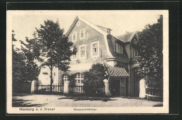 AK Nienburg a. d. Weser, Blick auf das Gasthaus Weserschlösschen 0
