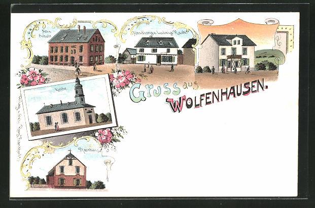 Lithographie Wolfenhausen, Handlung von Ludwig Raab, Neue Schule, Pfarrhaus 0