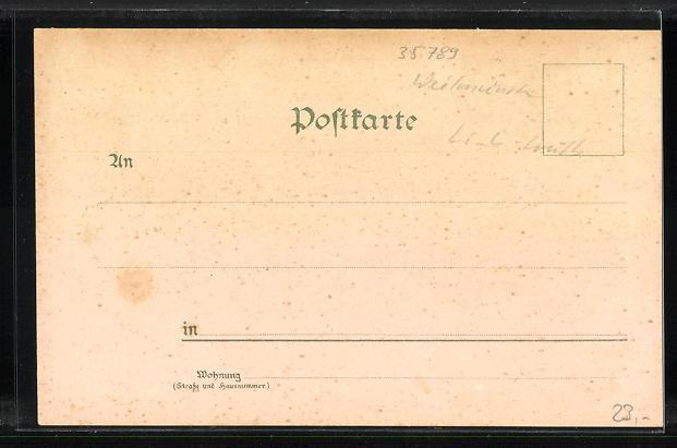 Lithographie Wolfenhausen, Handlung von Ludwig Raab, Neue Schule, Pfarrhaus 1