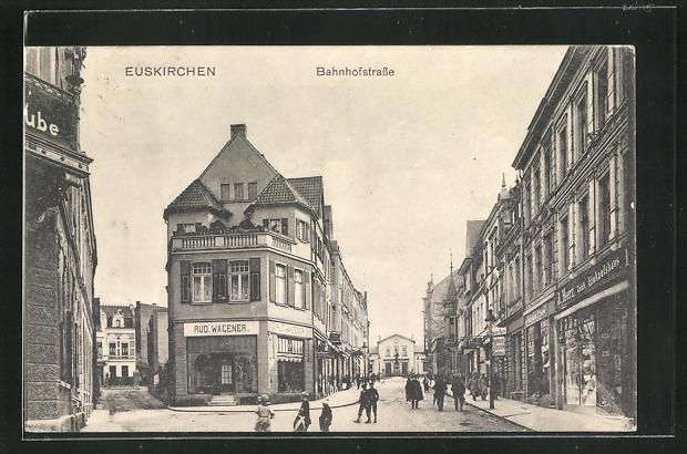 AK Euskirchen, Bahnhofstrasse mit Geschäften 0