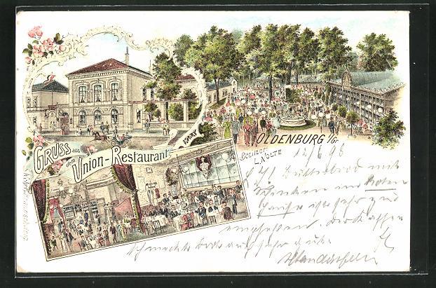 Lithographie Oldenburg i. Gr., Ansichten vom Union-Restaurant 0